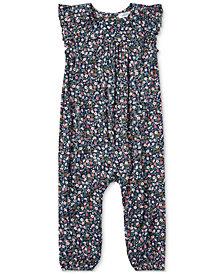 Ralph Lauren Baby Girls Floral-Print Flutter-Sleeve Romper