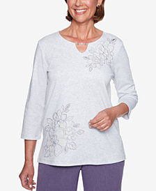 Alfred Dunner Embroidered 3/4-Sleeve Top