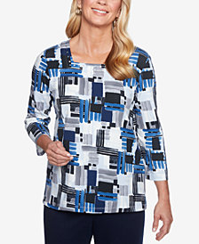 Alfred Dunner Classics Printed Square-Neck Top