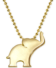"Alex Woo Elephant 16"" Pendant Necklace in 14k Gold"
