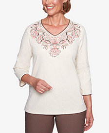 Alfred Dunner Petite Sunset Canyon Embroidered Top