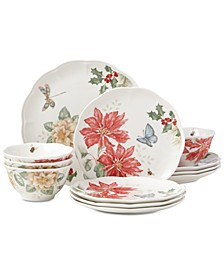 Butterfly Meadow Holiday 12-Piece Dinnerware Set Poinsettias and Jasmine Design, Created for Macy's
