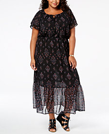 Style & Co Plus Size Printed Maxi Dress, Created for Macy's
