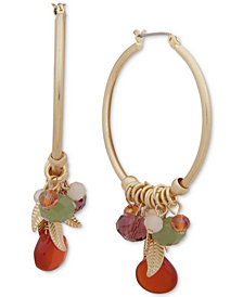 lonna & lilly Gold-Tone Leaf & Bead Shaky Hoop Earrings