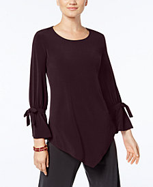Alfani Petite V-Hem Tie-Sleeve Top, Created for Macy's