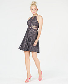 Morgan & Company Juniors' Sequined Lace Illusion Dress