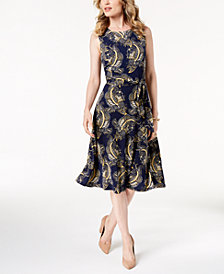 Charter Club Petite Paisley-Print A-Line Dress, Created for Macy's