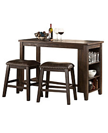 Spencer 3-Piece Counter Height Dining Set with Backless Stools