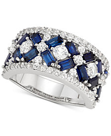 Cubic Zirconia Simulated Sapphire Cluster Statement Ring in Sterling Silver