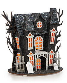 Martha Stewart Collection Halloween LED Paper Ghost House with Trees Table Piece, Created for Macy's