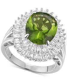 Cubic Zirconia Simulated Peridot Baguette Statement Ring in Sterling Silver