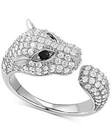 Cubic Zirconia Pavé Panther Cuff Ring in Sterling Silver