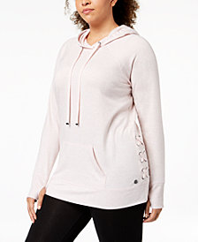 Ideology Plus Size Crisscross-Sides Hoodie, Created for Macy's