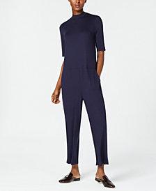 Eileen Fisher Stretch Jersey Mock-Neck Jumpsuit, Regular & Petite