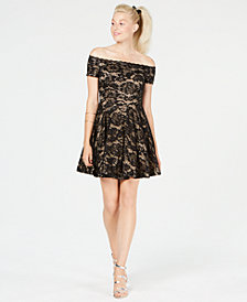 B Darlin Juniors' Off-The-Shoulder Glitter Lace Dress