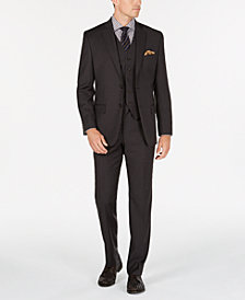 Michael Kors Men's Classic/Regular Fit Natural Stretch Brown Neat Vested Wool Suit