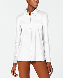Eileen Fisher Button-Front Organic Cotton Shirt