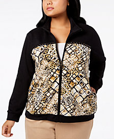 Alfred Dunner Plus Size Travel Light Printed Bomber Jacket