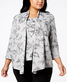 Alfred Dunner Plus Size Layered-Look Necklace Top