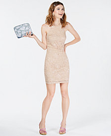 BCX Juniors' Glitter-Embellished Lace Dress
