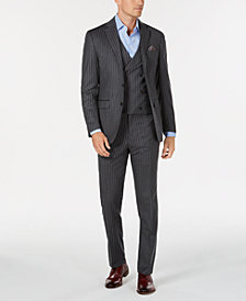 Tallia Men's Slim-Fit Medium Gray Pinstripe Flannel Vested Wool Suit