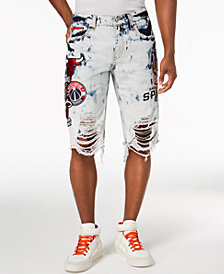 Heritage American Men's NBA Patch Denim Shorts