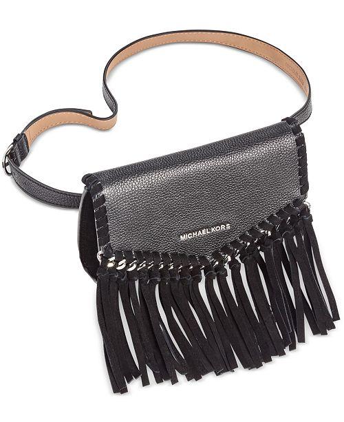 2876db64bcbb Michael Kors Pebble Leather   Suede Fringe Fanny Pack - Handbags ...