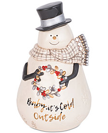 Fitz and Floyd Wintry Woods Snowman Cookie Jar
