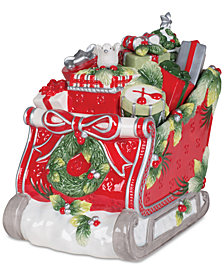 Fitz and Floyd Tartan Christmas Sleigh Cookie Jar
