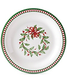 Holiday Stripe Melamine Dinner Plates, Set of 4