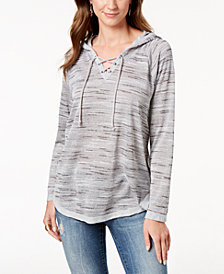 Style & Co Petite Lace-Up Knit Hoodie, Created for Macy's