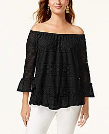 Style & Co Off-The-Shoulder Lace Top, Created for Macy's
