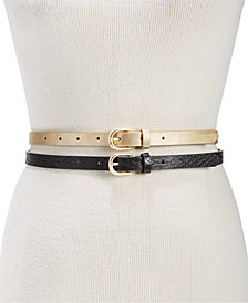 I.N.C. 2-for-1 Metallic & Embossed Skinny Belts, Created for Macy's
