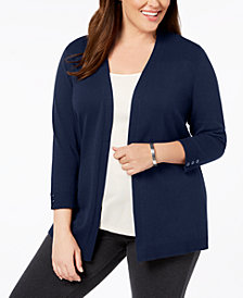 Karen Scott Plus Size 3/4-Sleeve Open-Front Cardigan, Created for Macy's