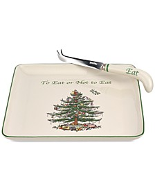Christmas Tree Cheese Plate with Knife