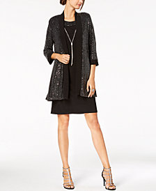 R & M Richards Sequined Metallic Knit Dress, Jacket & Necklace