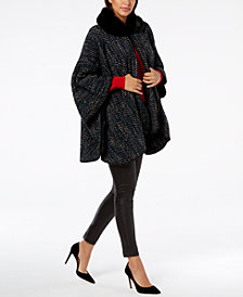 Cejon Faux Fur & Chevron Twill Cape
