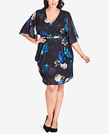 City Chic Trendy Plus Size Electric Rose Printed Batwing-Sleeve Dress