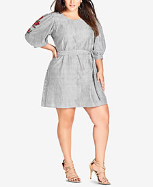 City Chic Trendy Plus Size Cotton Embroidered Dress