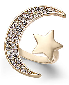 Thalia Sodi Gold-Tone Pavé Moon & Star Cuff Ring, Created for Macy's