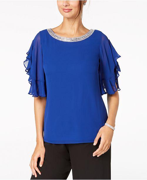 3b91d9189f3f MSK Petite Rhinestone-Embellished Flutter-Sleeve Top - Dresses ...