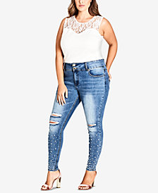 City Chic Trendy Plus Size Pearl-Embellished Distressed Skinny Jeans