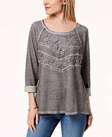 Style & Co Lace-Panel Sweatshirt, Created for Macy's
