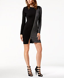 Just Cavalli Zip-Trim Mixed-Media Sheath Dress
