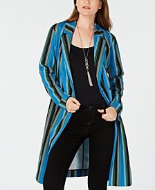 I.N.C. Striped Long Belted Jacket, Created for Macy's