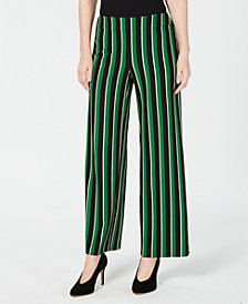 I.N.C. Pull-On Striped Wide-Leg Pants, Created for Macy's