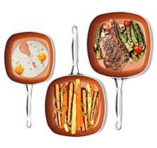 Non-Stick Ceramic 3-Pc. Square Fry Pan Set