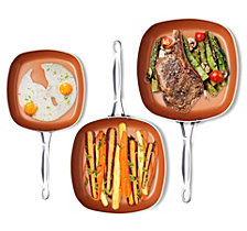 Gotham Steel 3-Pc. Square Fry Pan Set