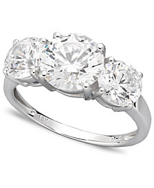 Arabella 14k White Gold Ring, Swarovski Zirconia Three Stone Ring (6-1/5 ct. t.w.)