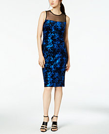 Calvin Klein Printed Illusion Sheath Dress